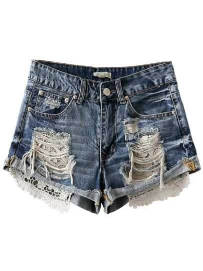 Blue Ripped Crochet Zipper Fly Shorts
