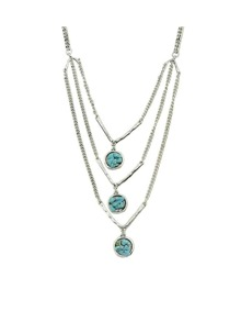 Silver Turquoise Mutilayers Necklace