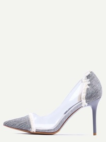 Grey Contrast Eyelet Clear Side Pumps