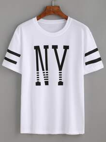 White Varsity Striped Letter Print T-shirt