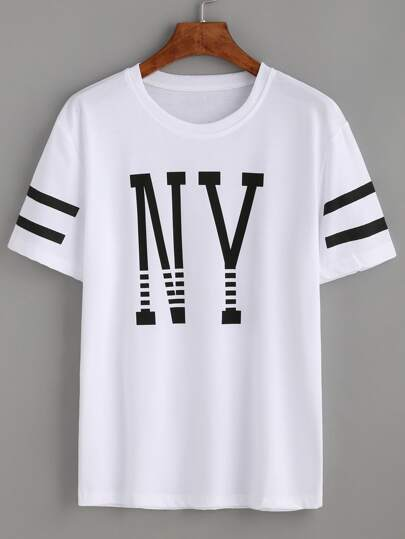 Varsity Striped Letter Print T-shirt