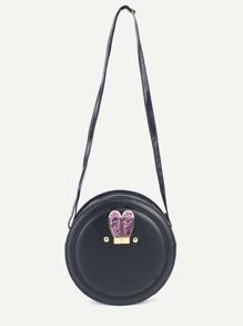 Black Metal Rabbit Ear Embellished Round Crossbody Bag