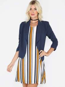 Ruched Sleeve Open Front Blazer NAVY