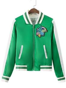 Green Stripe Trim Cactus Applique Jacket