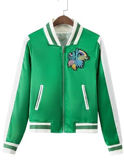 Green Stripe Trim Cactus Applique Jacket