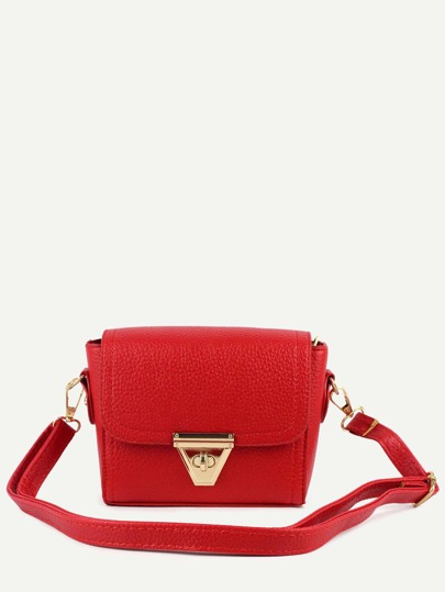 Red Pebbled Faux Leather Turnlock Flap Bag