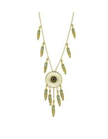 Gold Leaf Dream Catcher Pendant Necklace