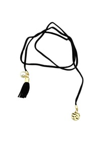 Pu Leather Black Long Necklace