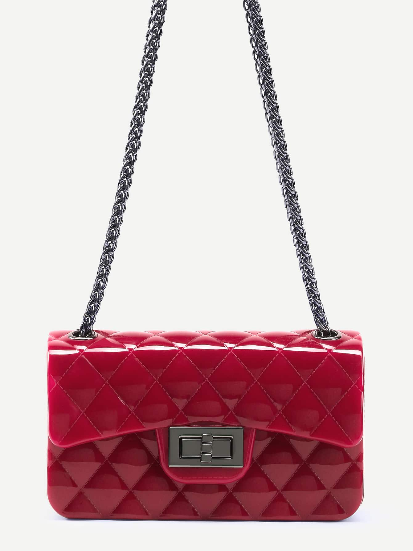 Red Plastic Quilted Flap Bag With Chain Image