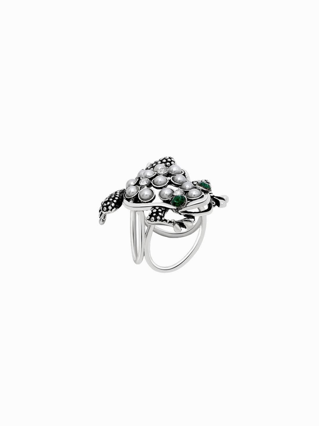 Фото Antique Silver Faux Pearl Inlay Etched Frog Scarf Ring. Купить с доставкой