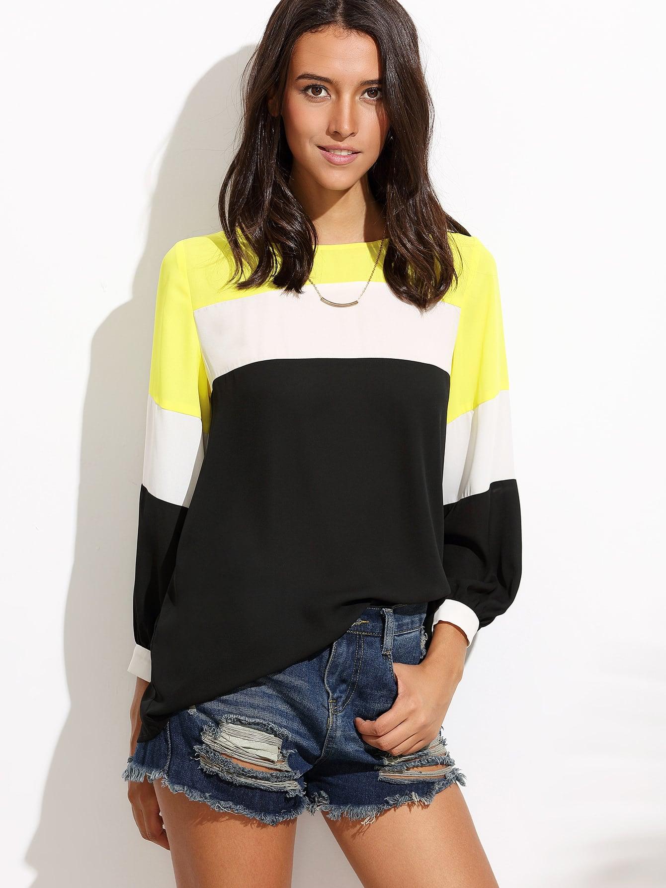 Купить Контрастная модная блуза, Camila, SheIn