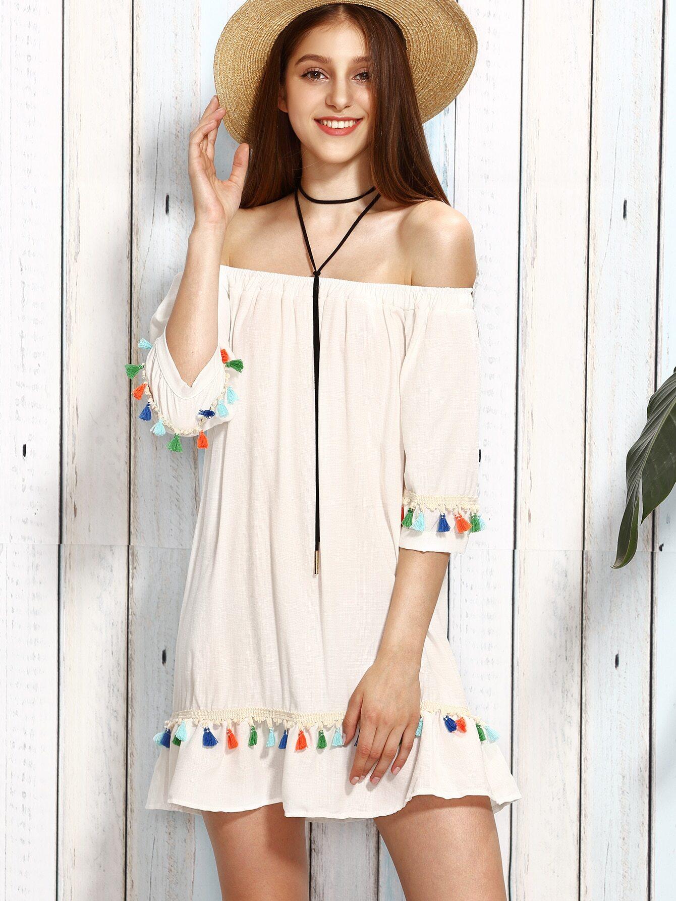 White Tassel Trim Off The Shoulder Dress Shein Sheinside