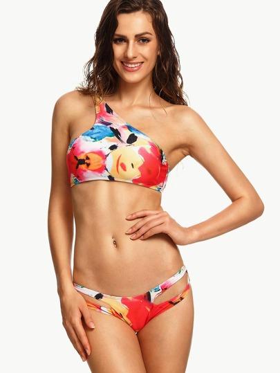 Multicolor Abstract Print One Shoulder Cutout Bikini Set