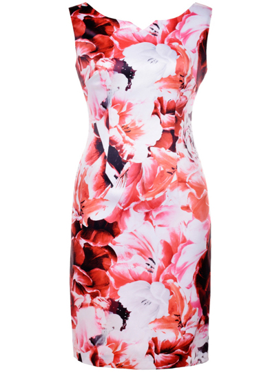 Multicolor Backless Floral Sheath Dress
