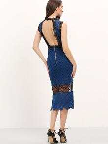 Blue Sheer Lace Open Back Dress