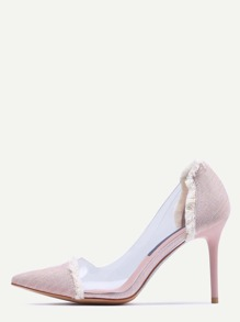 Pink Contrast Eyelet Clear Side Pumps