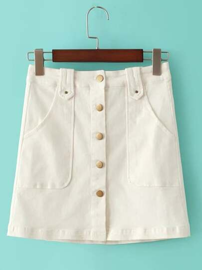 White Buttons Front Pockets A-Line Skirt