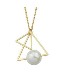 Gold Triangle Shape Pearl Necklace