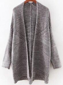 Grey Long Sleeve Collarless Slim Long Cardigan