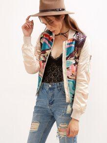 Multicolor Crew Neck Zipper Printed Jacket