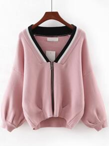Pink V Neck Zipper Front Sweater