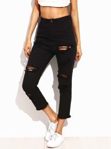 Distressed Frayed Hem Cropped Jeans