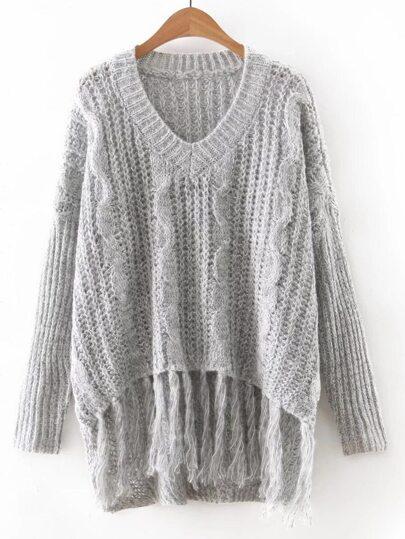 Grey V Neck Tassel Knitwear