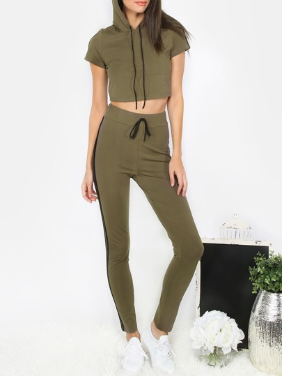 Army Green Short Sleeve Crop T-shirt With Pants