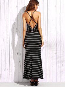 Black Striped Strappy Bow Back Maxi Dress