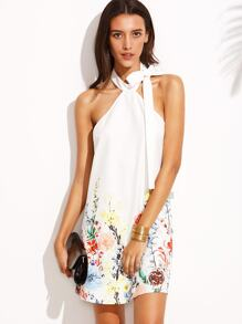 Floral Print Halter Neck Backless Sleeveless Shift Dress