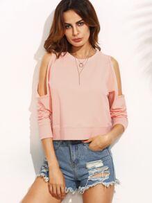 Pink Cold Shoulder Long Sleeve Crop Sweatshirt