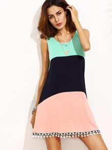 Color Block Sleeveless Pom Pom Trim Dress