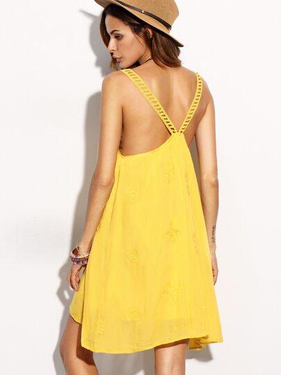 Yellow Spaghetti Strap Embroidery Dress