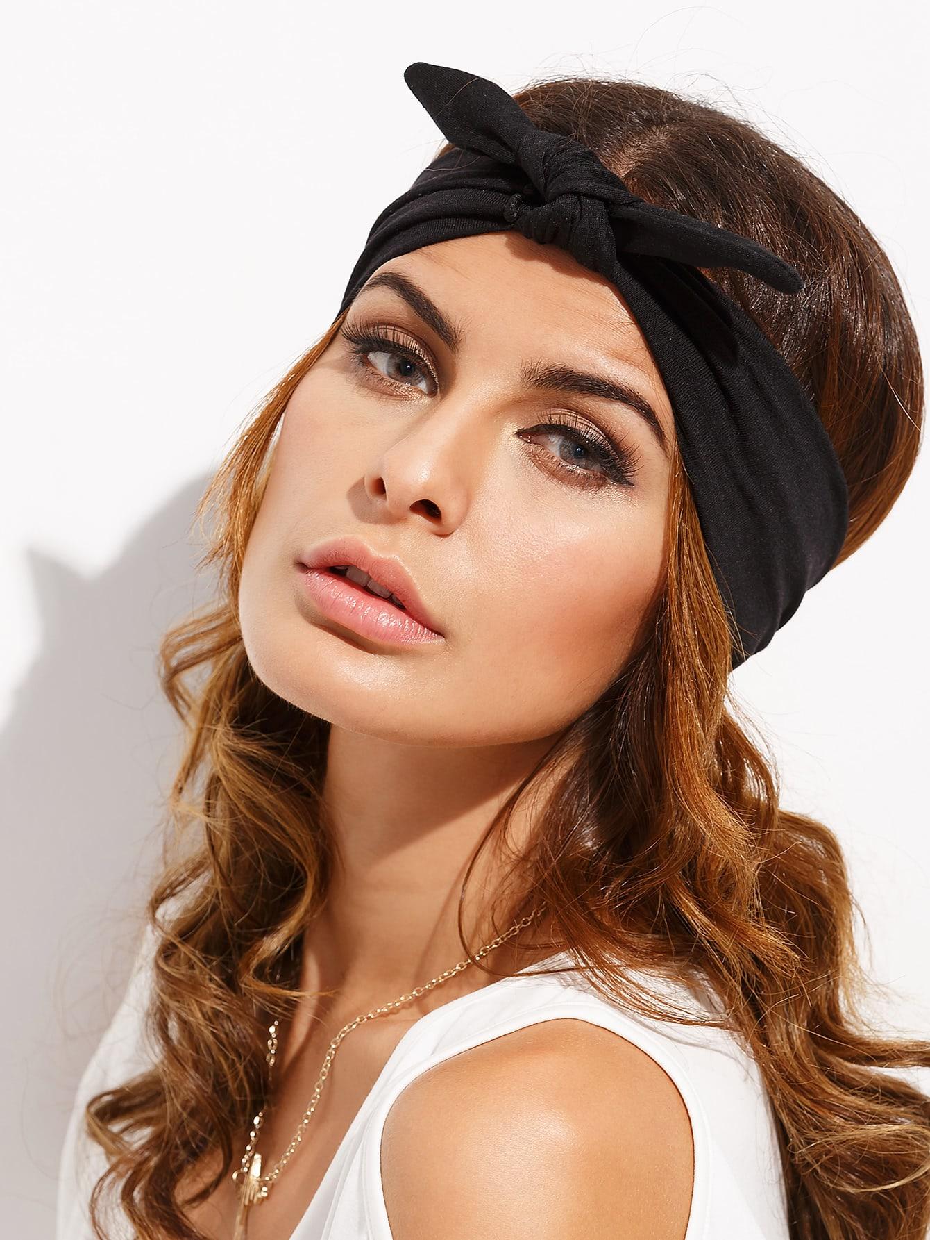 Фото Black Knotted Bow Headband. Купить с доставкой