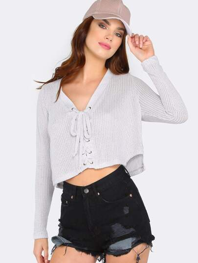 Loose Knit Lace Up Sweater GREY