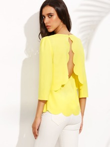 Split Back Scalloped Hem Top