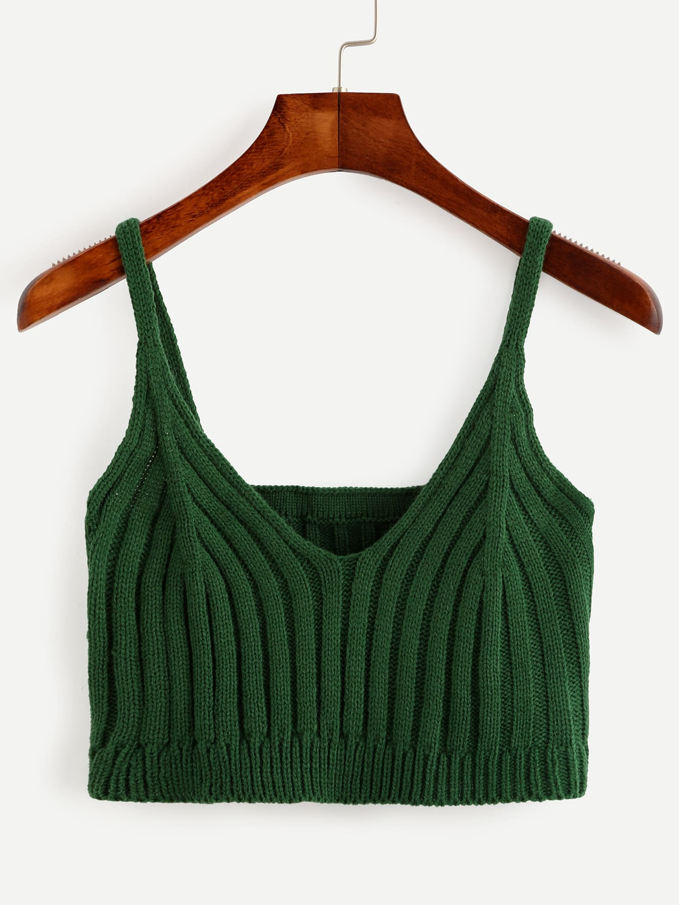 Green Ribbed Knit Crop Cami Top vest160728102