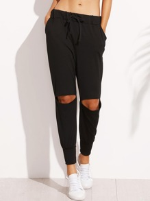 Black Knee Ripped Drawstring Peg Pants