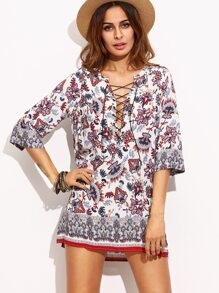 Multicolor Ornate Print Lace Up Tunic Dress