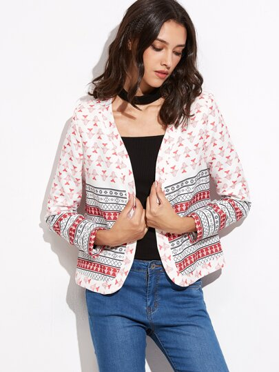Multicolor Printed Fitted Blazer