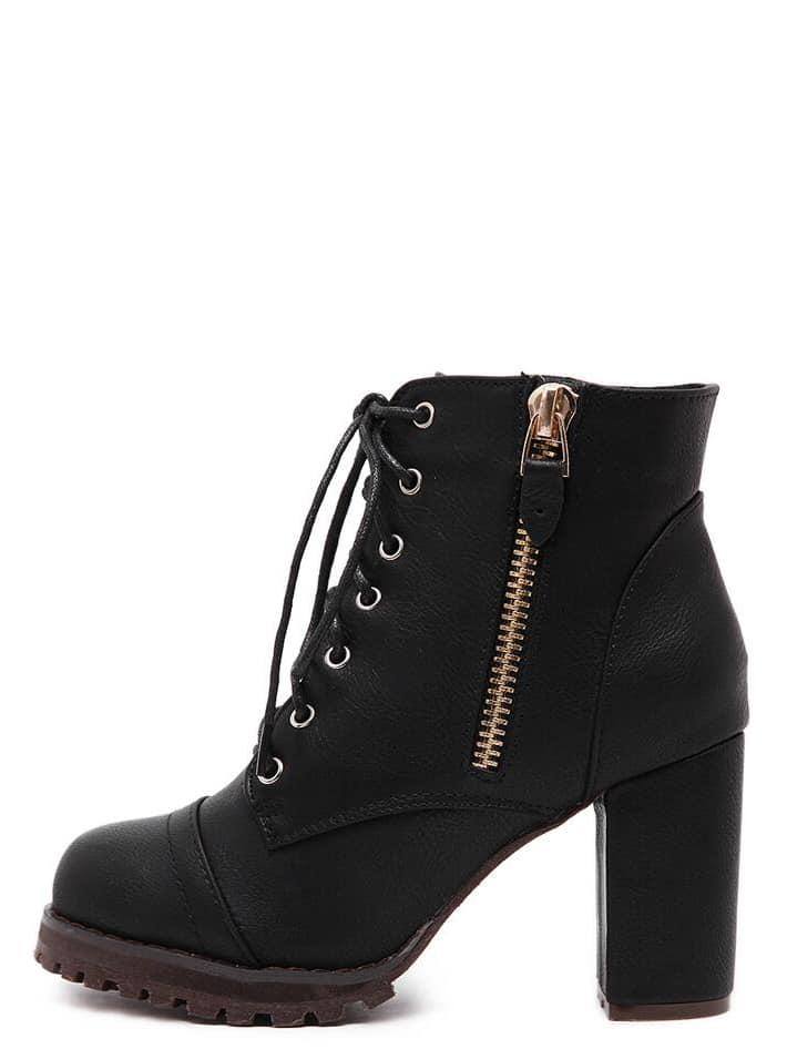 Black Lace Up Side Zipper Chunky Heels Ankle Boots -SheIn(Sheinside)