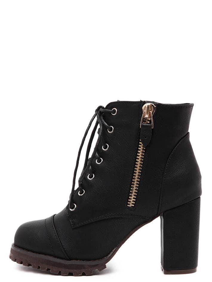 5f4bf3ffac Black Lace Up Side Zipper Chunky Heels Ankle Boots -SheIn(Sheinside)
