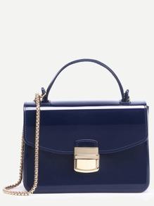 Navy Pushlock Closure Plastic Handbag With Chain