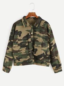 Olive Green Camo Print Flap Pocket Front Jacket