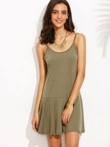 Army Green Ruffle Hem Slip Dress