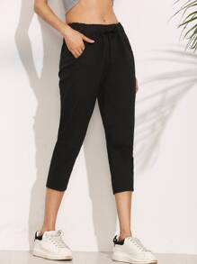 Black Elastic Waist Peg Pants