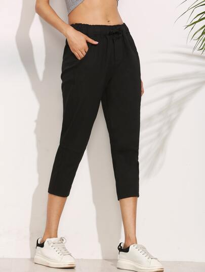 Black Elastic Waist Peg Pants