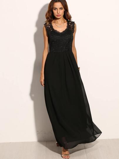 Black Lace Overlay Maxi Dress