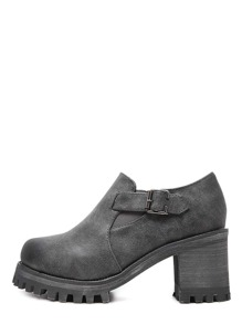 Grey Round Toe Buckle Chunky Pumps