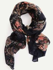 Black Floral Print Voile Scarf